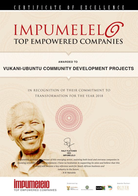 Impumelelo Top Empowerment Award to Vukani, 2018
