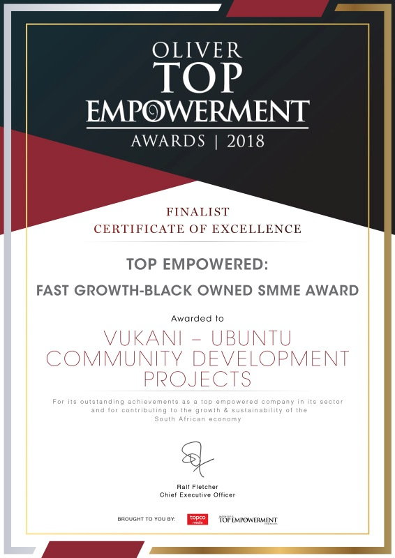 Oliver Empowerment Award to Vukani-Ubuntu - FAST GROWTH-BLACK OWNED SMME AWARD